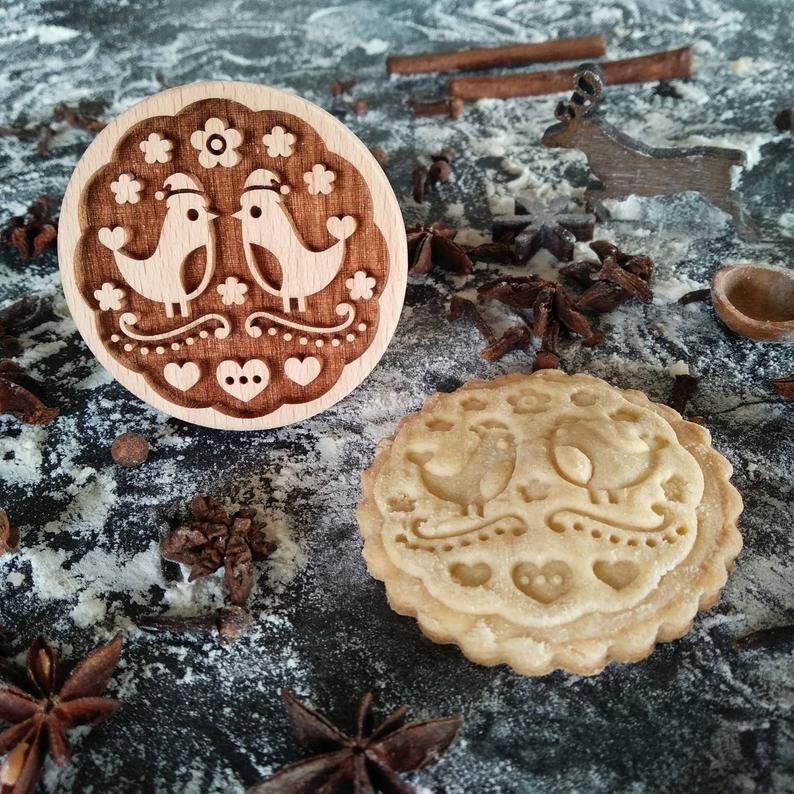 Razítko na sušenky - vánoční ptáčci