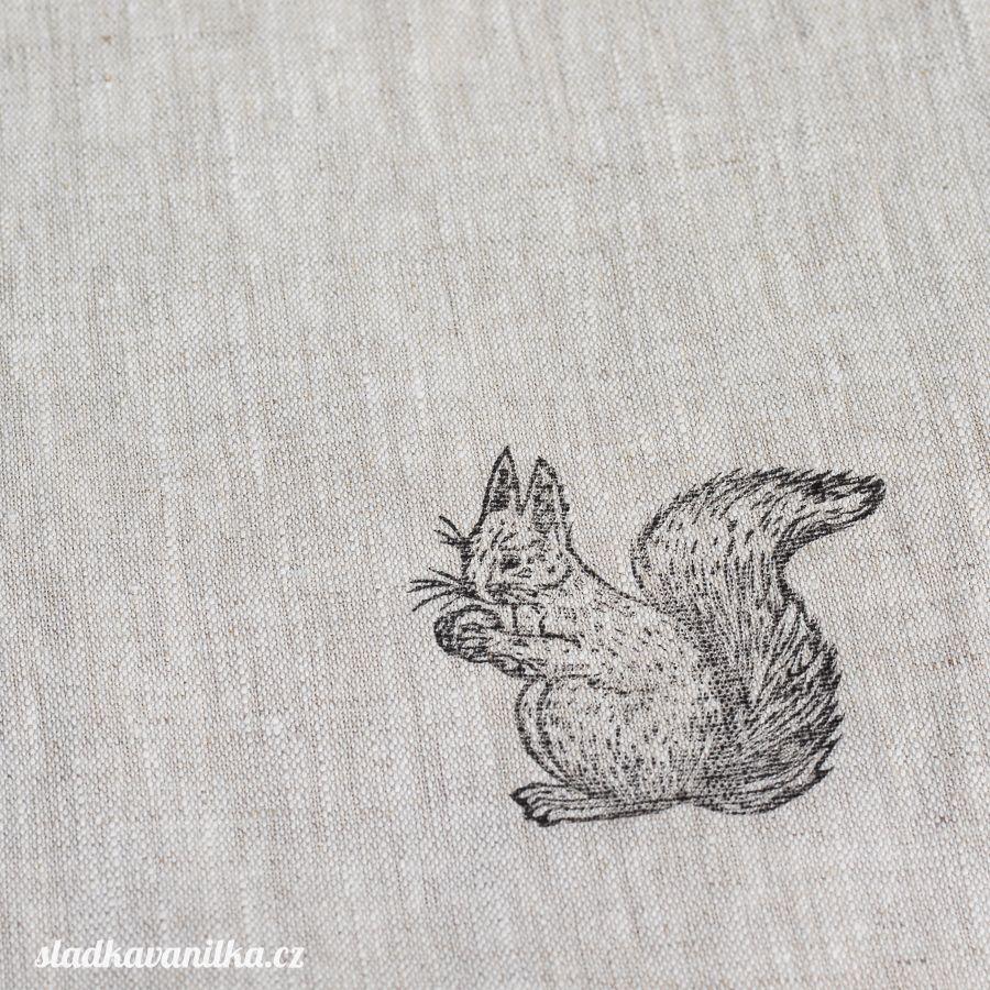 Lněný pytlík - veverka