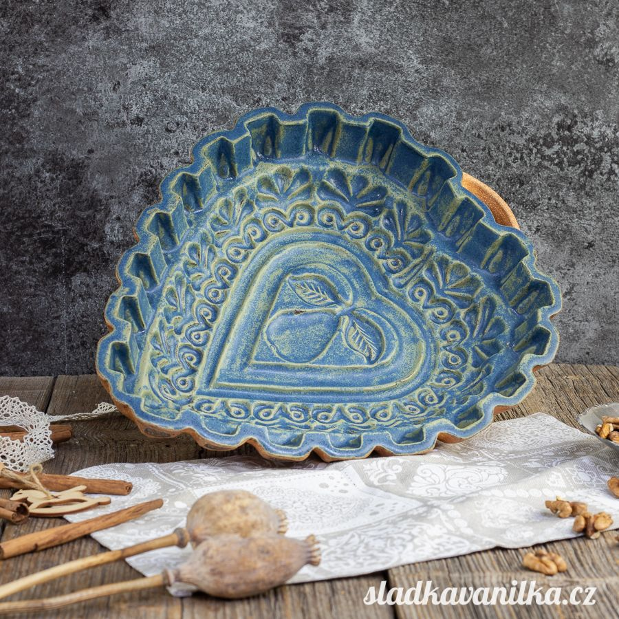 Srdce s hruškou - keramická forma na pečení