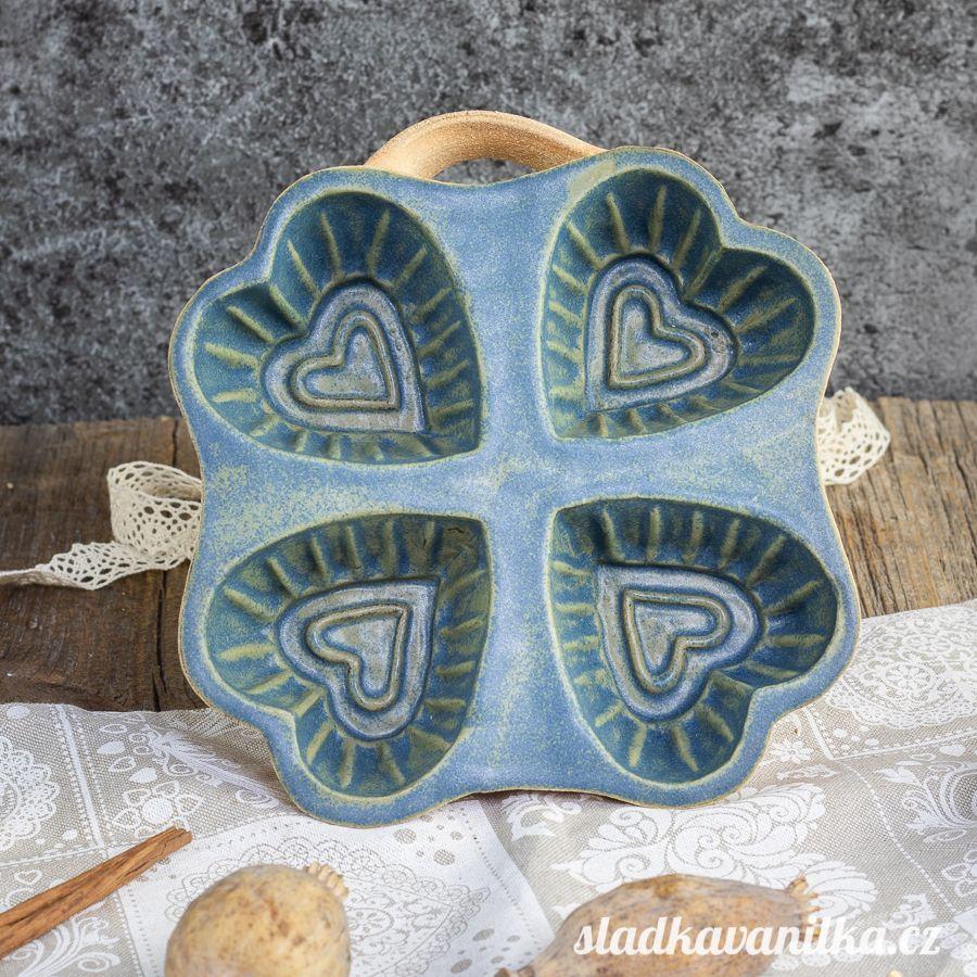 Belešník 4 srdce - keramická forma na pečení