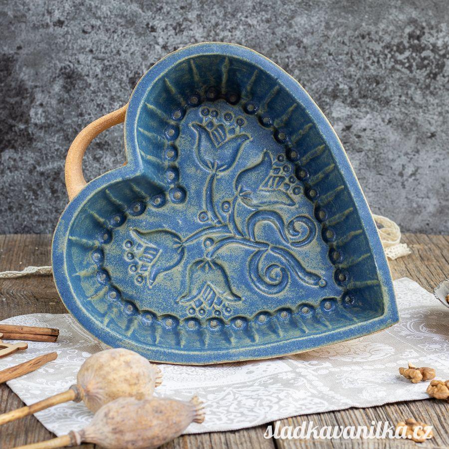 Srdce s květy - keramická forma na pečení